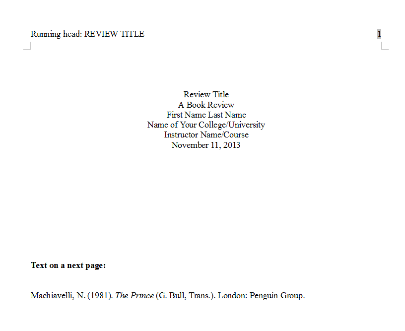 APA book review format